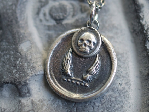 skull and wings pendant - skull and wings wax seal charm necklace … memento mori - sterling silver wax seal jewelry