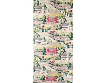 Vintage 50s Barkcloth - Novelty Print - Novelty Print Barkcloth - Bark Cloth - Red Green Taupe - Barkcloth Panels - Farm Scenes - Cows