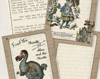 Printable Party Games Card Game Alice In Wonderland Instant Digital Download Collage Sheet  Scrapbook Ephemera Printables