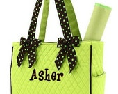 Diaper Bag Personalized Lime Green Brown Polka Dots Quilted Monogrammed