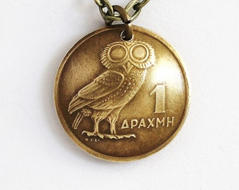 Greek Owl Coin Necklace Phoenix Pendant 1 Drachma Domed 1973 Jewelry by Hendywood