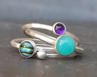 Hammered Silver Stacking Rings with Amazonite, Paua Shell and Purple Amethyst, Stackable Recycled Sterling Rings