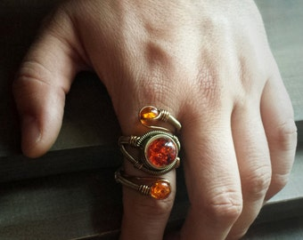 Steampunk Ring - Adjustable Size 9 to 13 US - Brass Copper with MYSTERIOUS Amber - Prototype