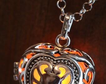 Heart Pendant Heart Jewellery Glowing Nekclace Heart Locket with orange glowing Orb Lovely Valentine Gift for Her - LED jewelry
