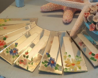 Vintage Hand Painted Rose Mirror Place Cards Mirrored Set of 8 Flowers Floral Spring