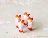 Dollhouse Miniature 1/12 Scale Strawberry Mousse Cup Desserts