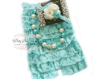 Baby Ruffle Lace Romper SET,  Aqua Blue and Cream Cake Smash Outfit , Baby Petti Romper, Baby Girl Lace Romper