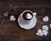 Hot Chocolate and Marshmallow Hearts Gift Box, Earl Grey Hot Chocolate Mix, Rose Vanilla Marshmallow Hearts