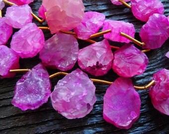 hot pink chalcedony beads, pink chalcedony beads, rough chalcedony beads, chalcedony drops