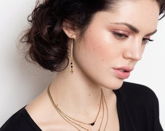 Multi Layers Necklace - Triple Chain Necklace - Black Necklace - Black and Gold - Triple Moon (SD1172)