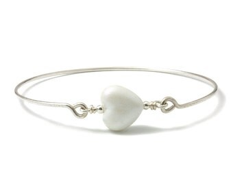 Heart Bangle | Sterling Silver Bangles with Lampwork Glass Heart | White Glass Heart Bangle | Stacking Bangle | Beaded Bangle | UK