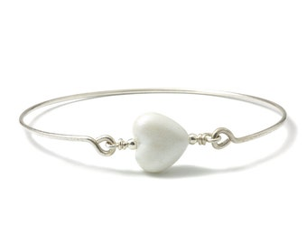 Heart Bangle | Sterling Silver Bangles with Lampwork Glass Heart | White Glass Heart Bangle | Stacking Bangle | Beaded Bangle | UK