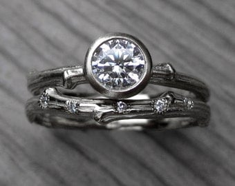 Moissanite Twig Engagement & Wedding Ring Set: 5mm Forever Brilliant™ and Scattered Diamond Band