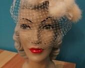 1950s White Fur Facinator Hat