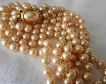 VINTAGE Double Strand Crown Trifari Signed Faux Pearl Jewelry Necklace  P1