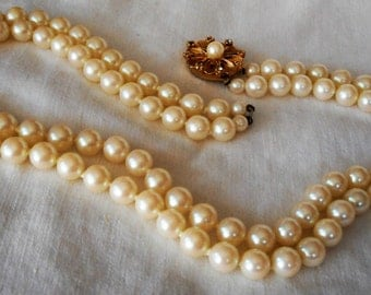 VINTAGE Bead Faux White Pearl Jewelry Necklace  P4 as is