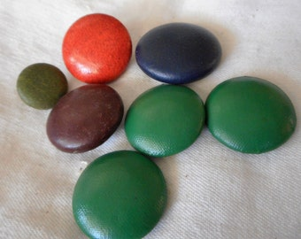 Lot of 7 VINTAGE Dyed Leather Top BUTTONS