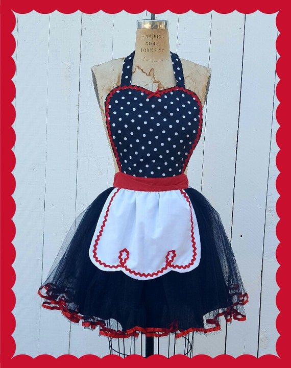 I Love Lucy apron, I love  Lucy costume, Retro APRON,  Black polka dot apron, flirty aprons, Lover Dovers, costume aprons, rockabilly