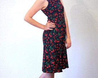 Betsey's Bungalow, 90s Cherry Dress, Cherry Print Rayon Grunge Sundress, Rayon Sundress, Sleeveless Shift Dress, Fruit Print Dress, M