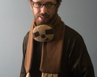 Fleece Sloth Animal Scarf