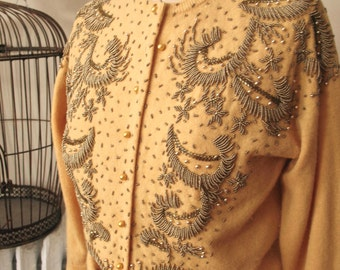 1950s Dulce Cardigan Vintage 50s 60s Beaded Cardigan Caramel Gold Wool Bronze Beads and Golden Pearlescent Buttons Made in Hong Kong Size S