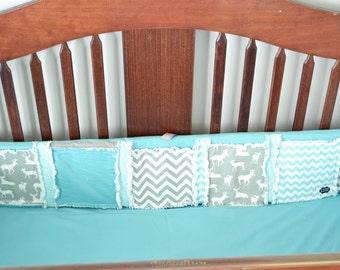 Deer Crib Bumper, Baby Boy Woodland Nursery, Deer Crib Bumpers; Aqua, Gray, White Baby Boy Crib Bedding, Hunting Bumpers, Baby Boy Bedding