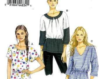 Vogue V8880 Easy Pullover Top Shirt Neckline Variations Size 14 16 18 20 22 Uncut Sewing Pattern 2013