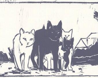 cat woodblock print / cat artwork / cat lover gift / original prints / black and white prints