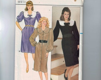 1980s Misses Sewing Pattern Butterick 6129 Misses Dress with Wide Collar Button Front Career Size 6 8 10 Waist 23 24 25 80s UNCUT  99
