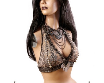 Halter, DD Cup, Gray, Gold, Black, Copper, Kuchi Coins, Bellydance, Costume, Tribal, Fusion, Circus, Carnival, Bra