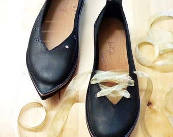 Harry Potter, Bridal shoes, QUEENIE, Handmade Leather Bewitched Shoes in Black