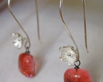 Handmade fused glass and sterling silver earrings. earrings  modern body art jewelry sparkly dichroic 925 hand made