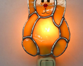 Rabbit NLs  4+ Choices - Stained Glass Rabbit Night lights - Bunny with Whiskers & Carrot or Egg