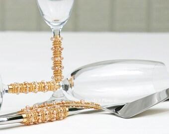 Swarovski gold wedding cake server and knife set gold bling cake cutting set gold champagne flutes bride groom champagne glasses beaded