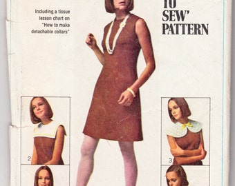 """1960's Vintage Sewing Pattern Ladies' A-Line Dress & Collars Simplicity 8060 36"""" Bust - Free Pattern Grading E-book Included"""