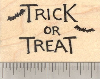Trick or Treat Rubber Stamp, Halloween Bats H29109 Wood Mounted
