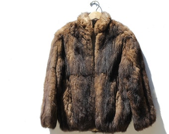 Brown Two Tone Faux Fur Jacket / Front Zip Short Jacket