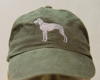 WEIMARANER DOG Hat - One Embroidered Men Women Cap - Price Embroidery Apparel - 24 Color Caps Available