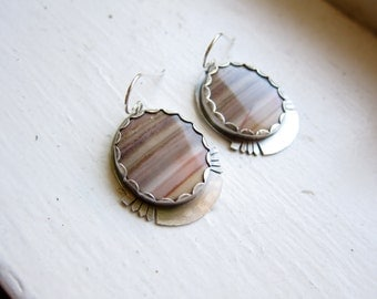 10% OFF Hickoryite and Sterling Silver Fan Earrings ||| Modern Drops