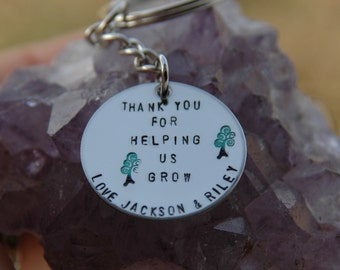 Thank You For Helping Me Grow Keyring Key Chain handstamped onto circle Teacher, Nanny, Day Care, Baby Sitter Gift