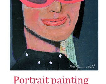 Acrylic Woman Portrait Painting. Mixed Media Collage Art. Woman Wearing Pink Kitty Glasses. Gift for Art Lover