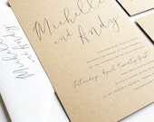 NEW Michelle Calligraphy Script Recycled Kraft Wedding Invitation Sample