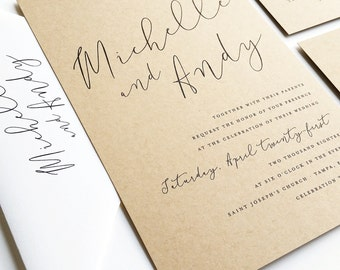 michelle calligraphy script recycled kraft wedding invitation sample - Paper For Wedding Invitations
