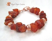 Genuine Baltic Amber Bracelet, Raw Amber Chunky Nuggets Burnt Orange Russet Natural Color Rough Cut Gemtone, Hand Forged Copper Toggle Clasp