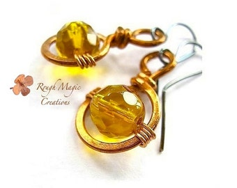 Copper Earrings with Yellow Amber Glass, Wire Wrapped Crystal, Eco Friendly Jewelry for Women, Large Dangle Drops, Gift for Her  E130