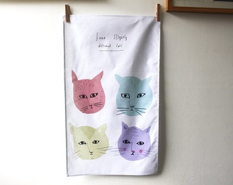 Tea towel Four Cats