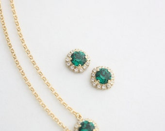 Emerald Crystal Earrings and Necklace Set Gold Emerald Green Crystal Bridal  Halo Earrings Bridesmaid Earrings Bridesmaid Necklace STUD Z15