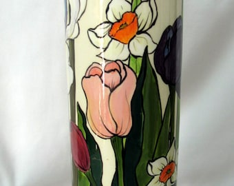 Tall Cylindrical Ceramic Vase Hand-painted Impressionistic Spring Flowers Tulips Daffodils Iris on ETSY