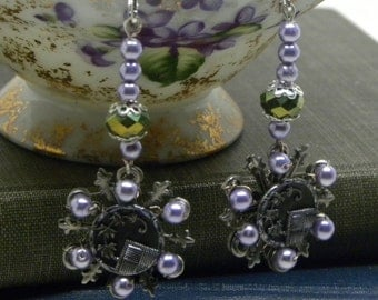 Antique Victorian AUBERGINE Flower Pyramid Button EARRINGS Lavender Glass Pearls Swarovski Green Vitriol Beads Sterling Silver Earwires BoHo