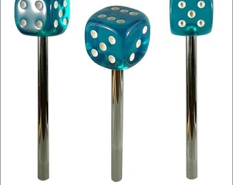 Blue Dice Beer tap handle, Translucent Dice Tap Handle With Chrome Shaft